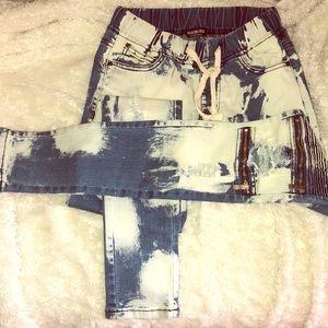Destroyed Denim Ribbed Skinny Jeans